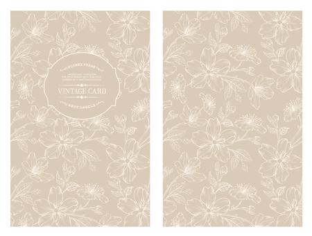 Avesome Entwurf für Sie persönliche Abdeckung. Frühling Sakura Blumen. Blumenthema für Buchcover. Blumen-Textur Illustration im Stil der Gravur. Vektor-Illustration.