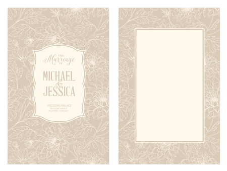 marriage invitation: Marriage card with blooming flowers isolated over brown background. Flowers in vintage style. Marriage invitation card of engraving flowers. Vector illustration.