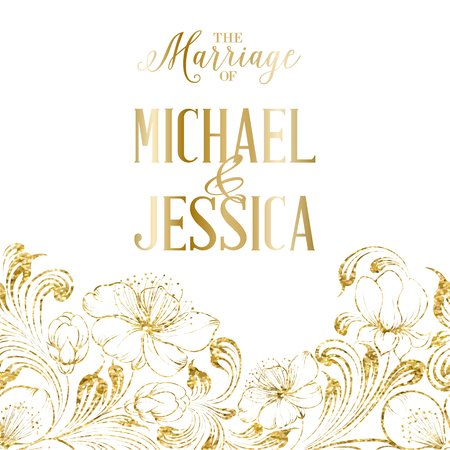 gold leaf: Avesome design for you personal cover. Marriage invitation card. Floral theme for bridal book cover. Flower texture illustration in style of engraving. Vector illustration. Illustration