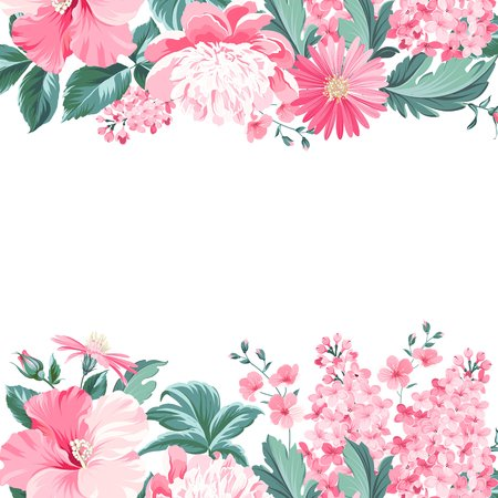 Vintage flower frame for your custom decorative design. Vector illustration. Ilustração
