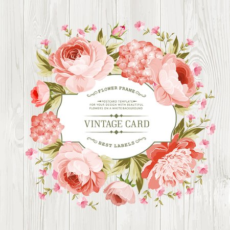 Pink peony with a vintage label over wooden texture. Vector illustration. Stock Illustratie