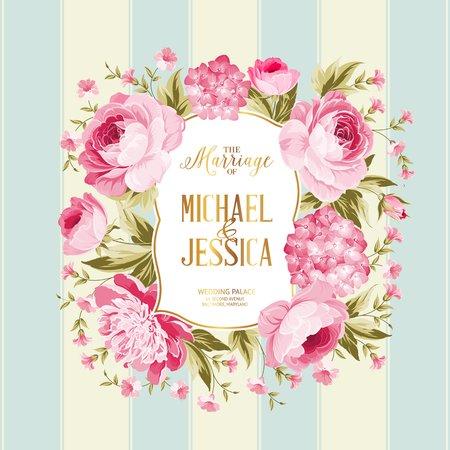 結婚カード。結婚式の招待カードのテンプレートです。ビンテージ スタイルの赤い花のフレームです。青いタイルの背景にカスタム記号と花フレー  イラスト・ベクター素材
