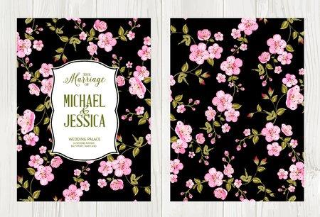 Hochzeit Blumen-Abdeckung mit Blumen auf schwarzem Hintergrund. Kirschblütenmuster. Blumen Einladungskarte über Holz. Vektor-Illustration. Vektorgrafik