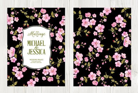 cherry wood: Wedding flower cover with flowers over black background. Cherry blossom pattern. Flower invitation card over wood. Vector illustration.