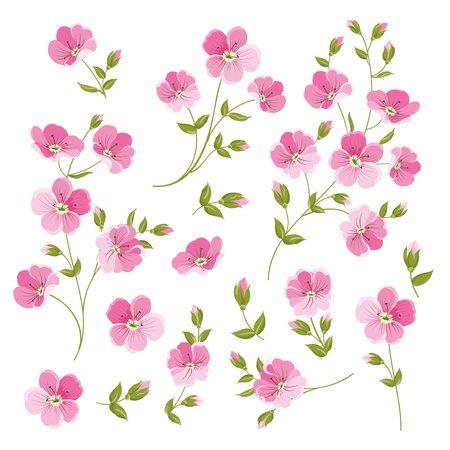 element: Set of Linen flowers elements. Collection of flower elements isolated on white background. Elegant spring flowers bundle. Vector illustration. Illustration