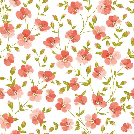 linen: Linum seamless pattern for fabric swatches. Pattern with red flowers and small leaves. Vector illustration.