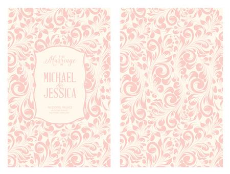 ビンテージ ラベル デザイン フレームとピンクの背景の上の花。招待状カードのテンプレート デザイン要素。ベクトルの図。