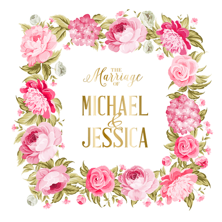 The marriage card. Wedding invitation card template. Border of red flowers in vintage style. Marriage invitation card with custom sign and flower frame over white background. Vector illustration. Vettoriali