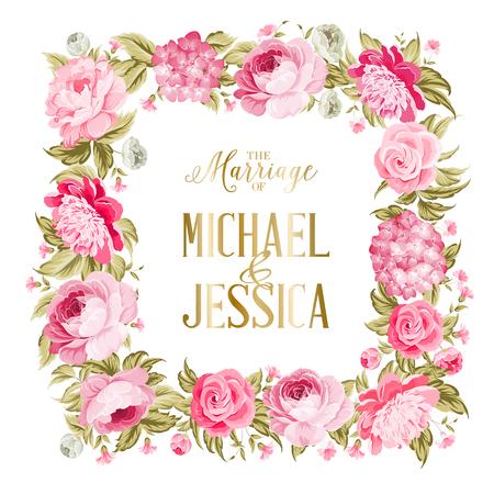 Manželská karta. Šablona svatební pozvánky. Hranice červených květin ve vintage stylu. Karta pozvánky s vlastním znakem a květinovým rámem na bílém pozadí. Vektorové ilustrace. Ilustrace