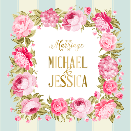 The marriage card. Wedding invitation card template. Border of red flowers in vintage style. Marriage invitation card with custom sign and flower frame over tile blue background. Vector illustration.