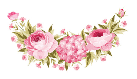 the spouse: Template of invitation card. Peony garland for holiday card. Awesome flower garland with roses isolated on white. Vector illustration. Illustration