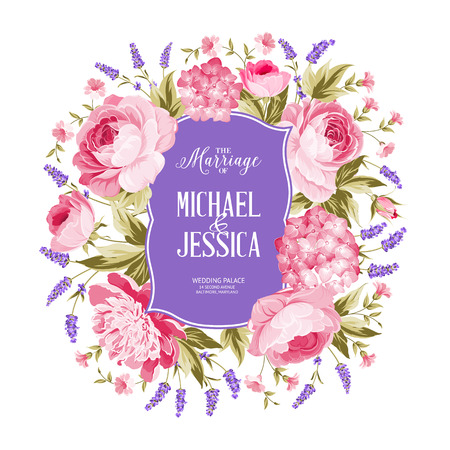 rose bouquet: Marriage invitation card. Spring flowers bouquet of rose, peony and hydrengea garland. Wedding card with rose flowers over white background. Vector illustration. Illustration