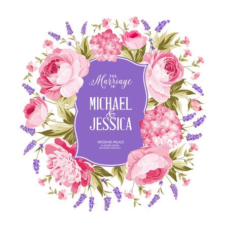 flores moradas: tarjeta de invitación matrimonio. flores de primavera ramo de flores rosas, peonía y la guirnalda Hydrengea. Invitación de boda con flores de rosa sobre fondo blanco. Ilustración del vector.