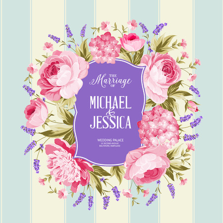 marriage invitation: Marriage invitation card. Spring flowers bouquet of rose, peony and hydrengea garland. Wedding card with rose flowers over tile blue background. Vector illustration.