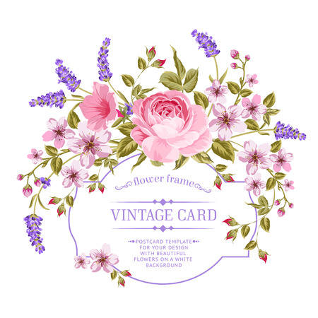 Luxurious invitation card of color peony, sacura and lavender flowers. Vintage floral invitation for spring or summer bridal shower. Rectangle card isolated over white background. Vector illustration. Vettoriali