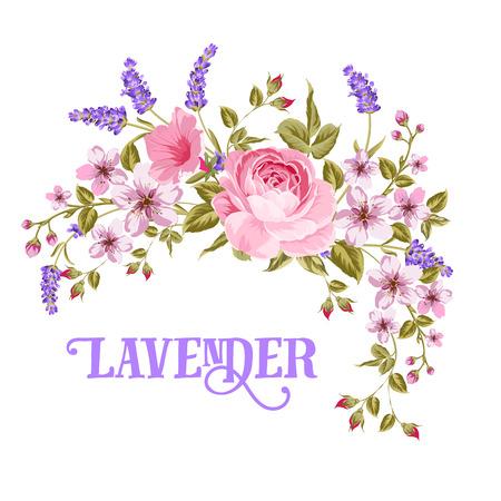 ラベンダーの看板。赤いバラ、ピンクのサクラとビンテージ スタイルのバイオレット ラベンダー花のガーランド。カスタム カードは、白い背景に