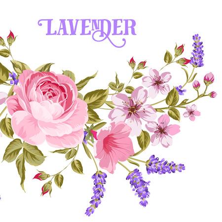 The Lavender teken. Slinger van rode roos, roze sakura en paarse lavendel bloemen in vintage stijl. Kaart met aangepaste teken Lavendel en bloem frame geïsoleerd op een witte achtergrond. Vector illustratie.