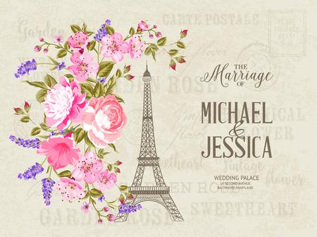 The Marriage Card Wedding Invitation Card Template Eiffel Tower