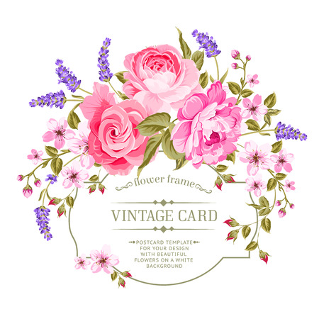 Spring flowers bouquet for vintage card. Pink peony with a vintage label isolated over white background. Vector illustration. Vettoriali