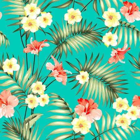 diseño tropical para la muestra de la tela. hojas de palma y flores plumeria tópicos hermosas en Patten transparente sobre el fondo verde. Ilustración del vector.