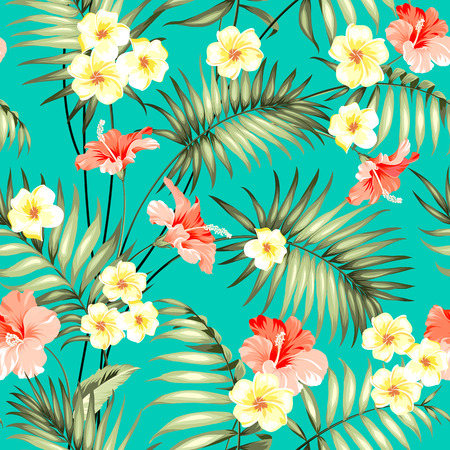 Tropical design for fabric swatch. Topical palm leaves and beautiful plumeria flowers on seamless patten over green background. Vector illustration. Ilustracja