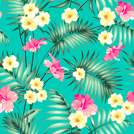 patten: Tropical design for fabric swatch. Topical palm leaves and beautiful plumeria flowers on seamless patten over green background. Vector illustration. Illustration