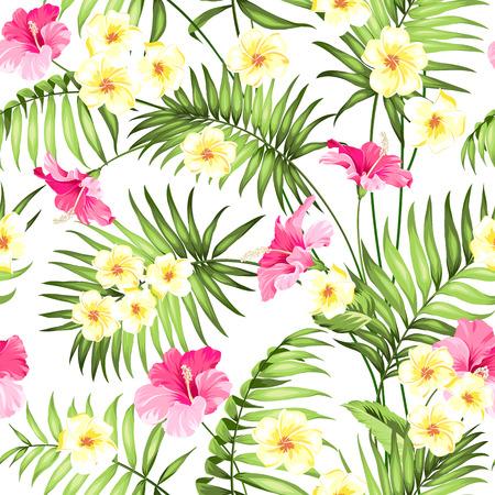 silhouette fleur: fleur tropicale transparente. des fleurs et des palmiers de la jungle tropicale. Beau motif de tissu avec des fleurs tropicales isolées sur fond blanc. plumeria Blossom pour seamless background. Illustration