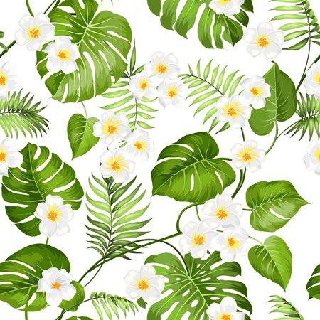 Fleurs de Plumeria et palmiers de la jungle. Beau modèle de tissu avec une fleurs tropicales isolé sur fond blanc. Fleurs de fleur pour un fond sans couture.
