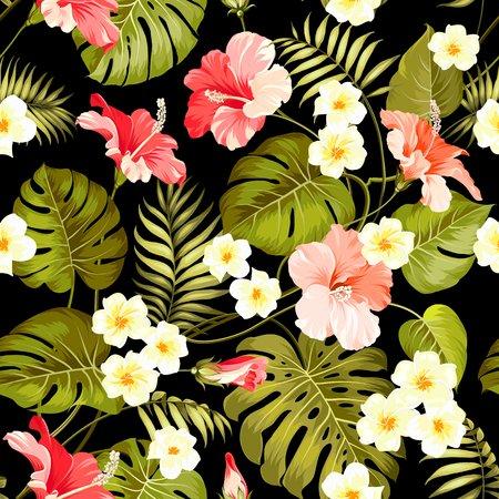 Plumeria Microfaser Stoff als Meterware Exotische Blumen-Aquarell