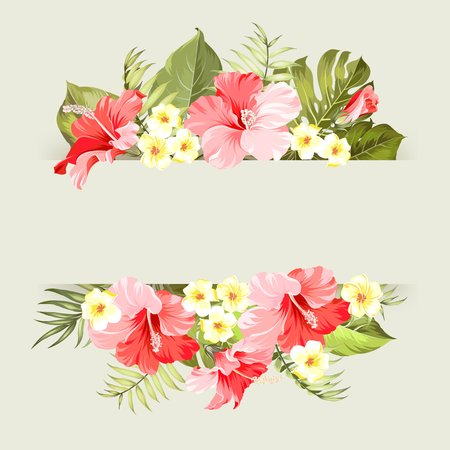 stems: Happy holiday invitation card with floral garland and text place.