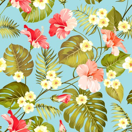 Tropical plumeria and jungle palms. Beautiful fabric pattern with a tropical flowers isolated over blue background. Seamless texture. Vector illustration.