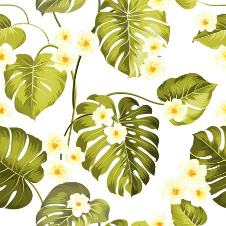 Tropical flowers and jungle palms. Beautiful fabric pattern with a tropical plumeria isolated over black background. Seamless texture. Vector illustration. Illustration