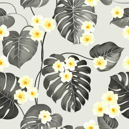 Tropical flowers and jungle palms. Beautiful fabric pattern with a tropical plumeria isolated over gray background. Seamless texture. Vector illustration. 向量圖像