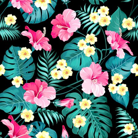 Plumeria fleurs et jungle palmiers. Beau motif de tissu avec des fleurs tropicales isolées sur fond noir. Texture transparente. Illustration vectorielle. Vecteurs