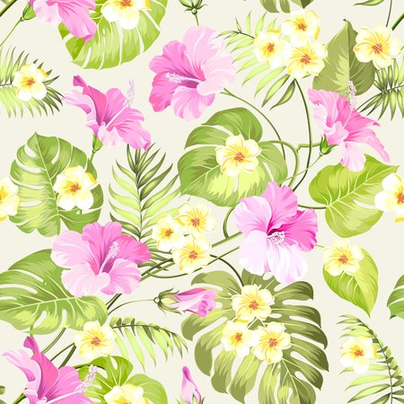 the petal: Seamless tropical flower. Tropical flowers and jungle palms. Beautiful fabric pattern with a tropical flowers isolated over white background. Blossom plumeria for seamless pattern background. Illustration