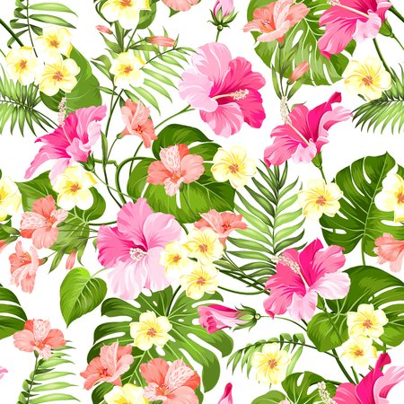 Seamless tropical flower. Tropical flowers and jungle palms. Beautiful fabric pattern with a tropical flowers isolated over white background. Blossom plumeria for seamless pattern background. Illustration