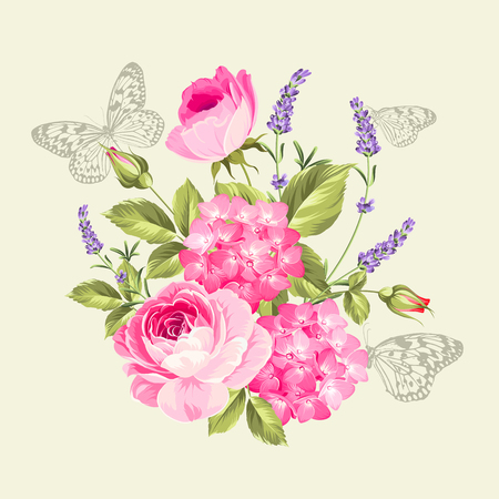 rose bouquet: Spring flowers bouquet with butterflies. Label with rose flowers and lavender. Vector illustration.