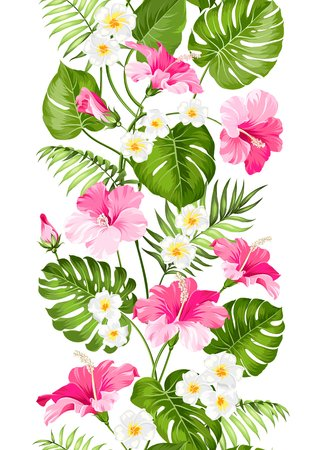 textile industry: Floral linear tile design. Design for print. Elegant card pattern. Tropical plumeria and green palm leaves. Light fabric swatch with pradise flowers isolated over white background.