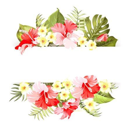招待状カード テキストの場所と熱帯の花フレーム。花の花輪とハッピー ホリデー カード。テキストと花の花輪、夏ホリデー招待カードを配置しま