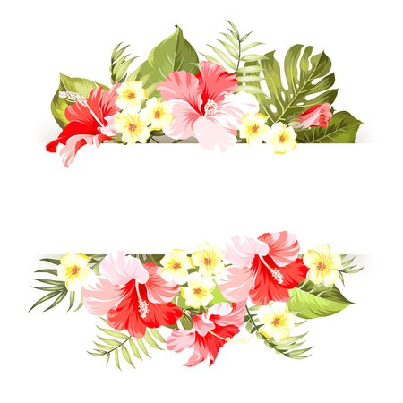 Tropical flower frame with place for invitation card text. Happy holiday card with floral garland. Summer holiday invitation card with floral garland with text place. Vector illustration.