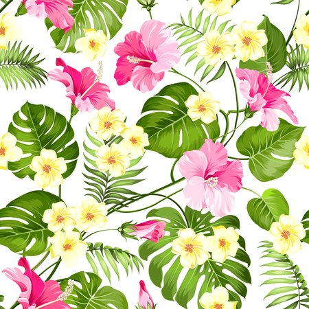 Seamless tropical flower. Tropical plumeria and green palm leaves. Light fabric swatch with pradise flowers isolated over white background. Blossom plumeria for seamless pattern background.