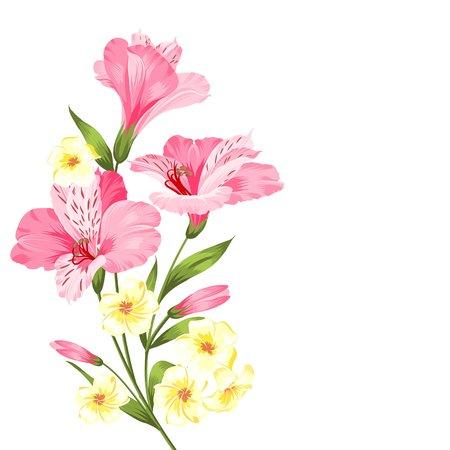 carte de vacances heureuse avec guirlande de fleurs. Mariage guirlande serti de fleurs tropicales pour la carte d'invitation. Été carte d'invitation de vacances avec guirlande de fleurs avec du texte lieu. Vector illustration.