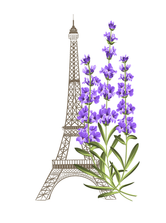 violet: Eiffel tower icon with lavender flowers isolated over white background. Vector illustration.