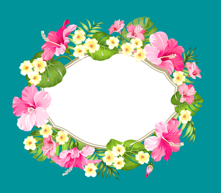 holiday garland: Tropical flower wreath with place for invitation card text. Happy holiday card with floral garland. Summer holiday invitation card isolated over green background. Vector illustration. Illustration