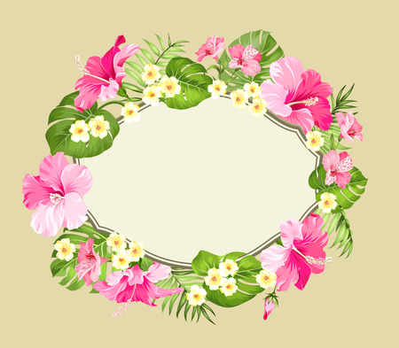 holiday invitation: Tropical flower wreath with place for invitation card text. Happy holiday card with floral garland. Summer holiday invitation card isolated over brown background. Vector illustration.