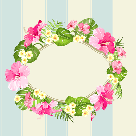 holiday invitation: Tropical flower wreath with place for invitation card text. Happy holiday card with floral garland. Summer holiday invitation card isolated over blue tile line background. Vector illustration. Illustration