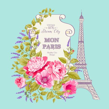 metal spring: Vintage blue card with spring flowers and frame design over Eiffel tower. Vector illustration.