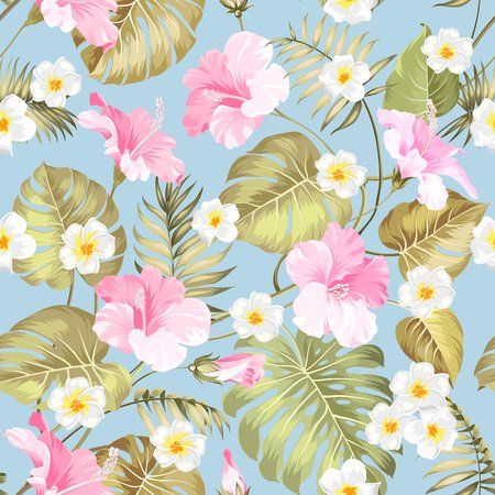 topical: Tropical design for fabric swatch. Topical palm leaves and beautiful plumeria flowers on seamless patten over green background. Vector illustration. Illustration