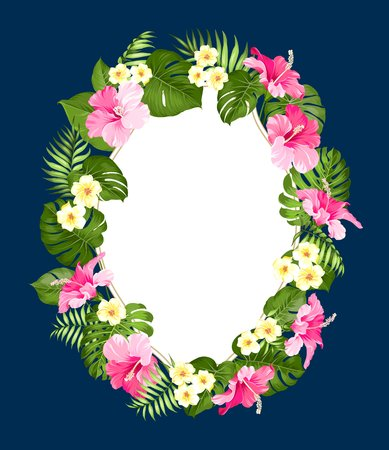 holiday invitation: Tropical flower frame with place for invitation card text. Happy holiday card with floral garland. Summer holiday invitation card with floral garland with text place. Vector illustration.