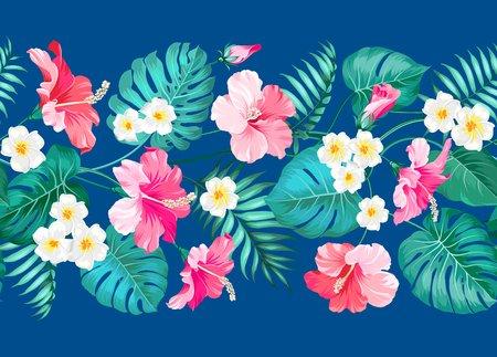 motif floral: Conception de carreaux linéaires floraux au centre. Conception pour impression. Modèle de carte élégant. Plumeria tropical et feuilles de palmier vertes. Swatch en tissu léger avec des fleurs de pradise isolées sur fond bleu. Illustration